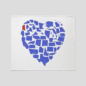 Mississippi Heart Throw Blanket