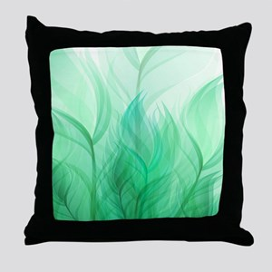 Beautiful Teal Green Feather Leaf Throw Pillow