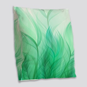 Beautiful Teal Green Feather Leaf Burlap Throw Pil