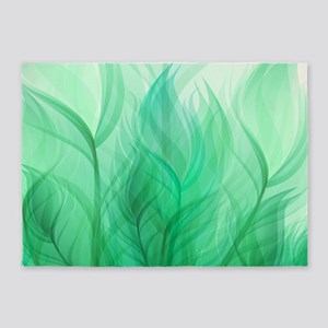 Beautiful Teal Green Feather Leaf 5'x7'Area Rug