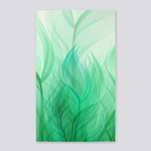 Beautiful Teal Green Feather Leaf 3'x5' Area Rug