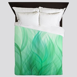 Beautiful Teal Green Feather Leaf Queen Duvet