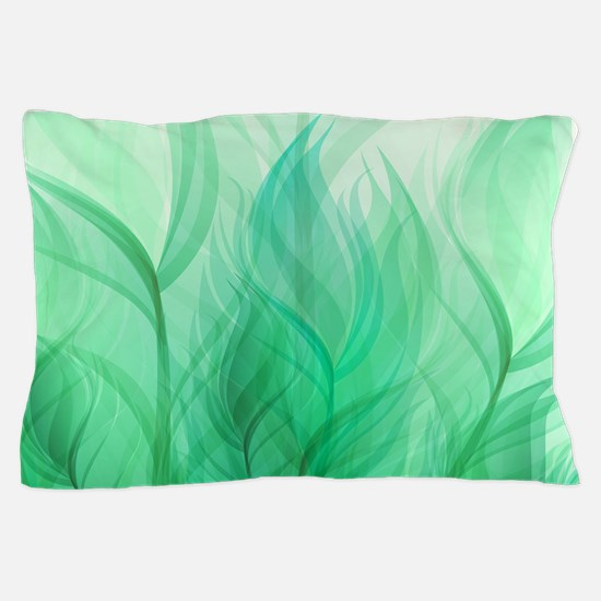Beautiful Teal Green Feather Leaf Pillow Case