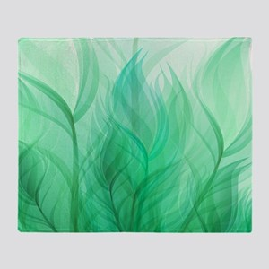 Beautiful Teal Green Feather Leaf Throw Blanket