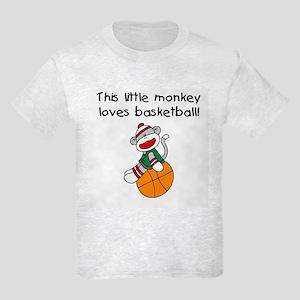 Little Monkey Loves Basketball Kids Light T-Shirt