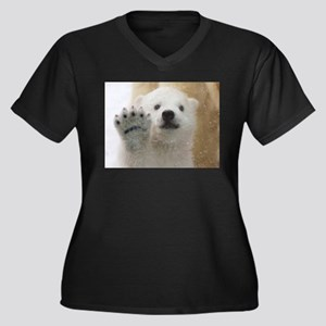 Cute Polar Bear Cub Waving Plus Size T-Shirt
