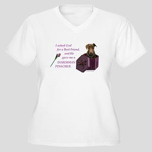 Doberman Women's Plus Size V-Neck T-Shirt