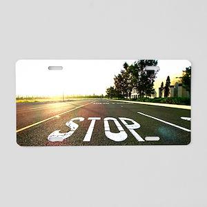 Stop Aluminum License Plate