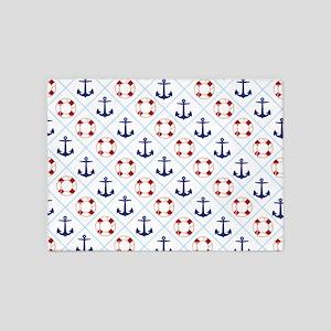 Nautical, life savers+anchors 5'x7'Area Rug