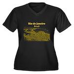 Rio de Janei Women's Plus Size V-Neck Dark T-Shirt