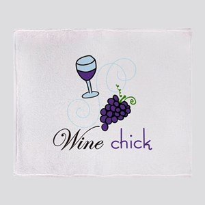 Wine Chick Throw Blanket