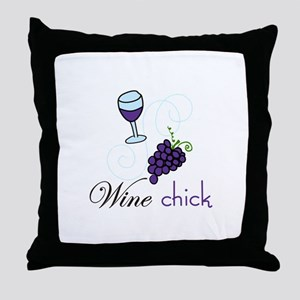 Wine Chick Throw Pillow
