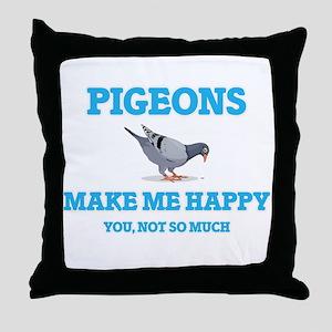 Pigeons Make Me Happy Throw Pillow
