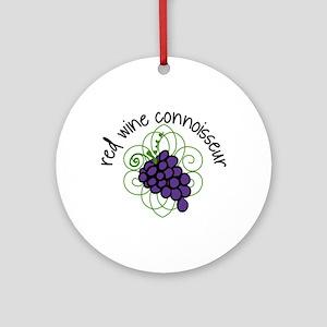 Red wine Connoisseur Ornament (Round)