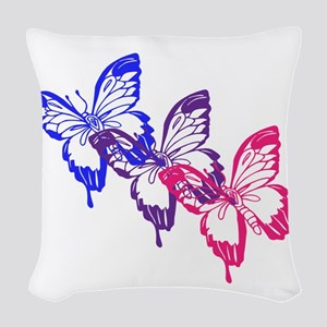 Bisexual Butterfly Woven Throw Pillow