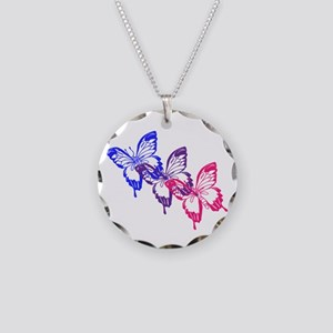 Bisexual Butterfly Necklace Circle Charm