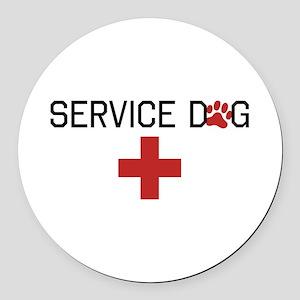 Service Dog Round Car Magnet