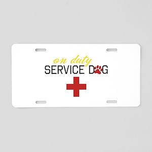 On Duty Service Dog Aluminum License Plate