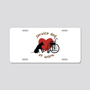 Service Dog At Work Aluminum License Plate