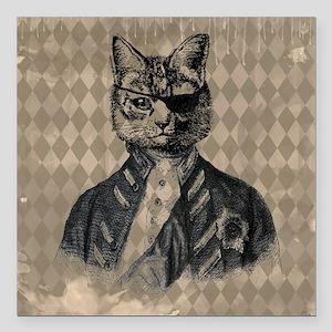 """Harlequin Cat Square Car Magnet 3"""" x 3"""""""