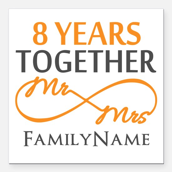 "8th anniversary Square Car Magnet 3"" x 3"""
