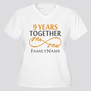 9th anniversary Women's Plus Size V-Neck T-Shirt