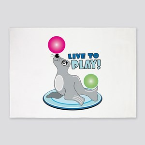 Live To Play! 5'x7'Area Rug