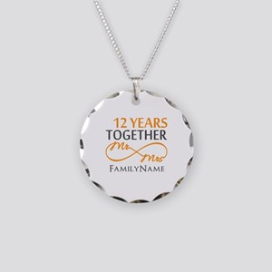 12th anniversary Necklace Circle Charm