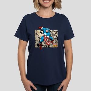 Captain America Retro Women's Dark T-Shirt