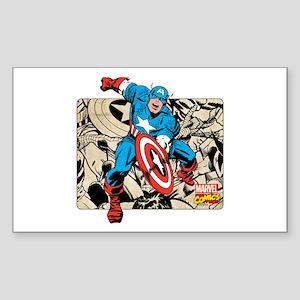 Captain America Retro Sticker (Rectangle)