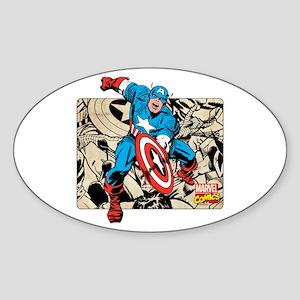 Captain America Retro Sticker (Oval)