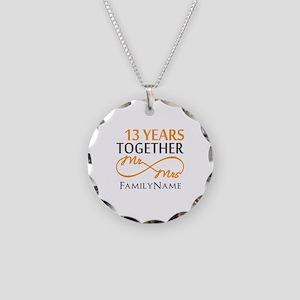 13th anniversary wedding Necklace Circle Charm