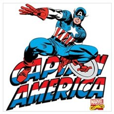 Captain America Logo Wall Art Framed Print