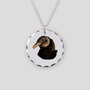 black vulture Necklace Circle Charm