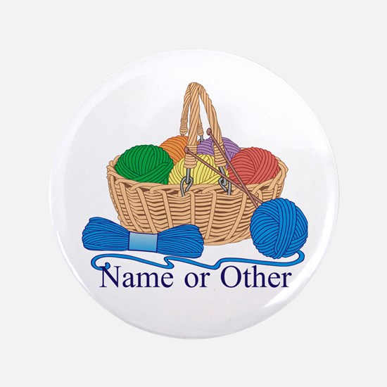 """Personalized Knitting 3.5"""" Button"""