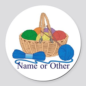 Personalized Knitting Round Car Magnet