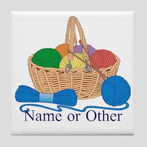 Personalized Knitting Tile Coaster