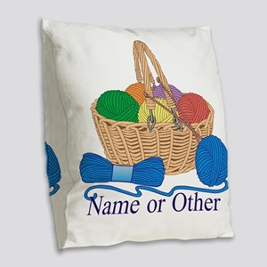 Personalized Knitting Burlap Throw Pillow