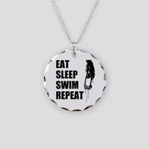 Eat Sleep Swim Repeat For Necklace Circle Charm