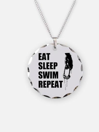 Eat Sleep Swim Repeat For Necklace