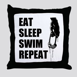 Eat Sleep Swim Repeat Throw Pillow