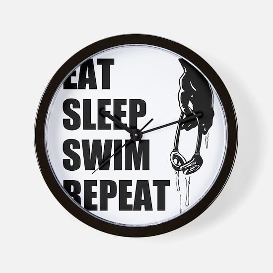 Eat Sleep Swim Repeat Wall Clock