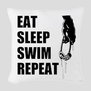 Eat Sleep Swim Repeat Woven Throw Pillow