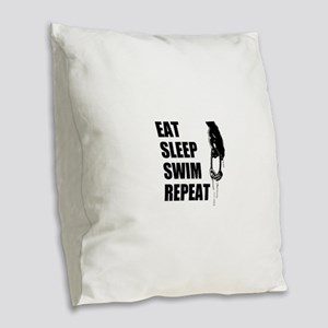 Eat Sleep Swim Repeat Burlap Throw Pillow