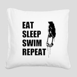 Eat Sleep Swim Repeat Square Canvas Pillow