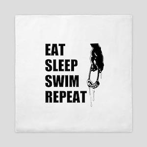 Eat Sleep Swim Repeat Queen Duvet