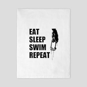 Eat Sleep Swim Repeat Twin Duvet For Swimmer