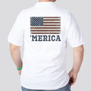 'Merica Flag Vintage Golf Shirt