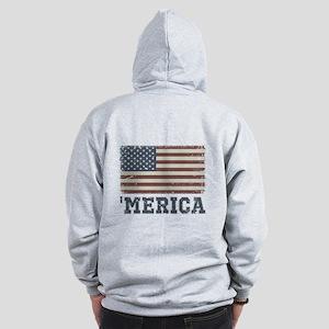 'Merica Flag Vintage Zip Hoodie