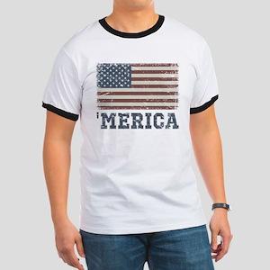 'Merica Flag Vintage Ringer T